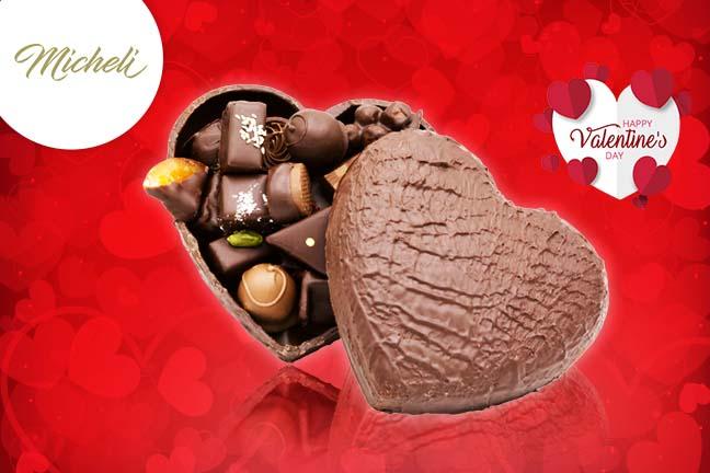 Coeur en chocolat spécial Saint Valentin Accueil